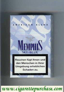 Memphis Sky-Blue American Blend cigarettes hard box