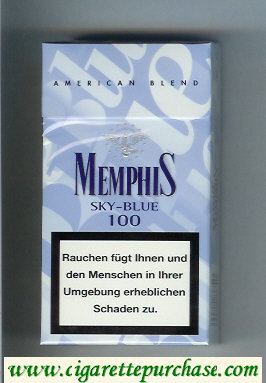 Memphis Sky-Blue 100s American Blend cigarettes hard box
