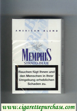 Memphis Strato-Blue American Blend cigarettes hard box