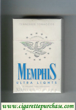 Memphis Ultra Lights Tennessee Tobaccos cigarettes hard box