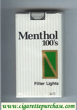 Menthol 100s Filter Lights cigarettes soft box
