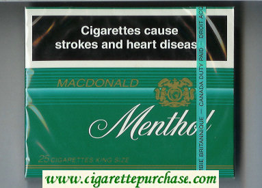 Menthol Macdonald 25 cigarettes wide flat hard box
