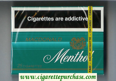 Menthol Macdonald 25s cigarettes wide flat hard box