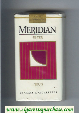 Meridian Filter 100s cigarettes soft box