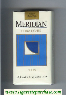 Meridian Ultra Lights 100s cigarettes soft box