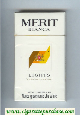Discount Merit Bianca Lights 100s cigarettes hard box