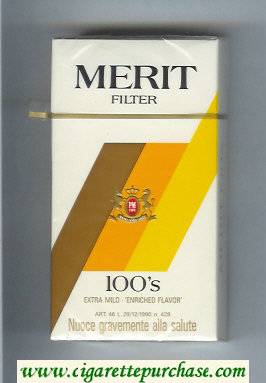 Discount Merit Filter 100s cigarettes hard box