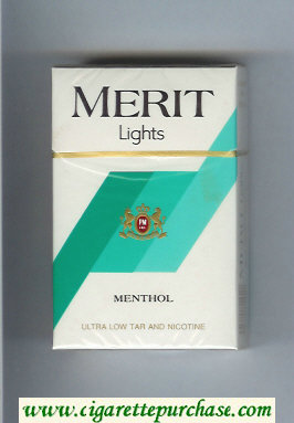 Discount Merit Lights Menthol cigarettes hard box