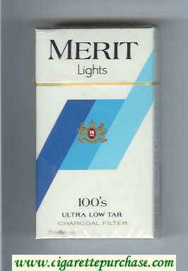 Discount Merit Lights 100s cigarettes hard box