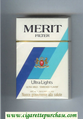 Discount Merit Ultra Lights Filter cigarettes hard box
