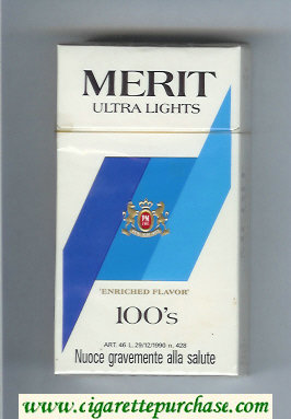 Merit Ultra Lights 100s cigarettes hard box