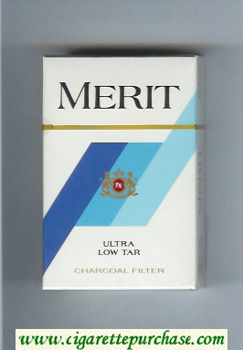 Discount Merit white and blue cigarettes hard box