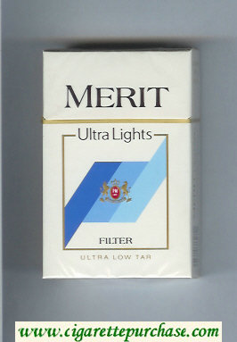 Merit Ultra Lights Filter cigarettes hard box