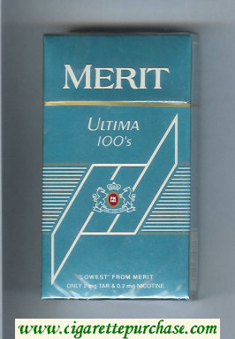 Discount Merit Ultima blue 100s cigarettes hard box