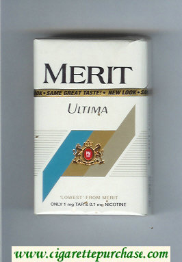 Discount Merit Ultima white cigarettes hard box
