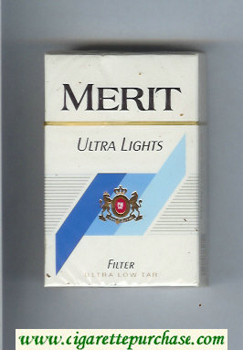 Merit Ultra Lights cigarettes hard box