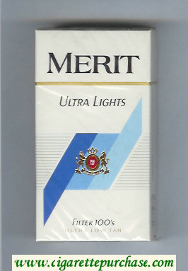 Merit Ultra Lights Filter 100s cigarettes hard box