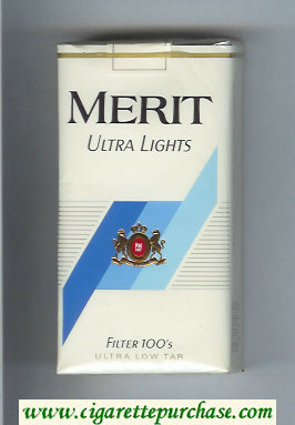 Merit Ultra Lights Filter 100s cigarettes soft box