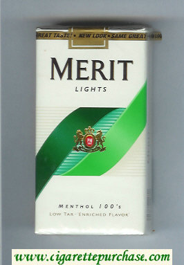 Discount Merit Lights Menthol 100s cigarettes soft box