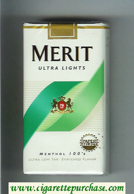 Discount Merit Ultra Lights Menthol 100s cigarettes soft box