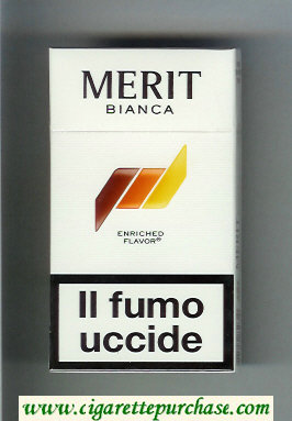 Discount Merit Bianca 100s slim cigarettes hard box