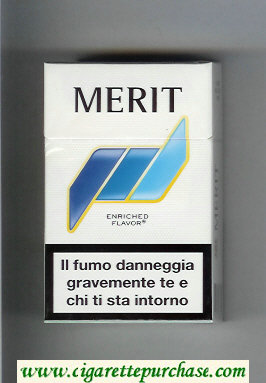 Merit white and blue cigarettes hard box