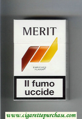 Discount Merit white and brown and orange and yellow cigarettes hard box