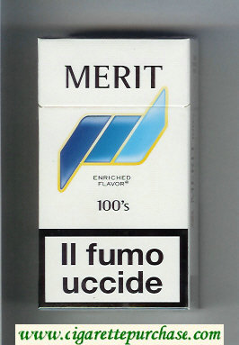 Discount Merit 100s white and blue cigarettes hard box