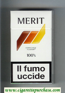 Discount Merit 100s white and brown and orange and yellow cigarettes hard box