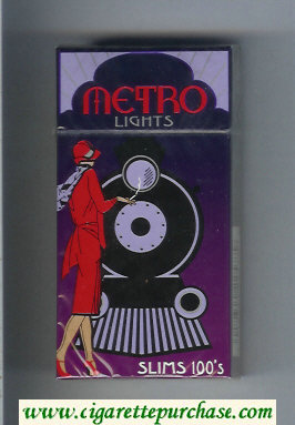 Metro Lights Slims 100s cigarettes hard box