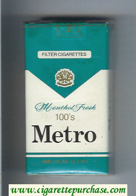 Metro American Blend Menthol Fresh 100s Filter cigarettes soft box