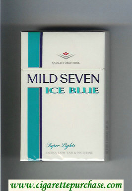 Mild Seven Ice Blue Super Lights Menthol cigarettes hard box