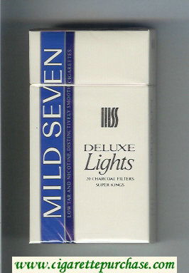 Mild Seven Deluxe Lights Distinctively Smooth 100s cigarettes hard box