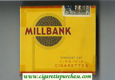 Millbank Straigth Cut Virginia cigarettes wide flat hard box