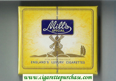 Mills Special cigarettes wide flat hard box