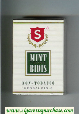 Mint Bidis white and green and red cigarettes hard box
