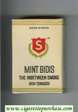 Mint Bidis white and red cigarettes hard box