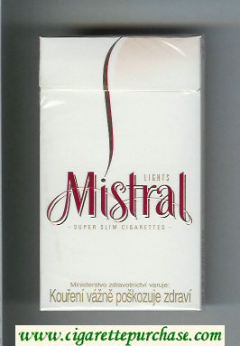 Mistral Lights Super Slim 100s cigarettes hard box