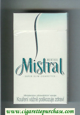 Mistral Menthol Super Slim 100s cigarettes hard box