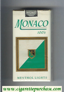 Monaco Menthol Lights 100s Cigarettes soft box