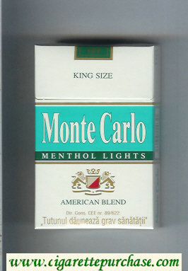 Monte Carlo Menthol Lights American Blend Cigarettes hard box
