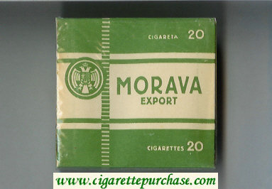 Morava Export white and green cigarettes wide flat hard box