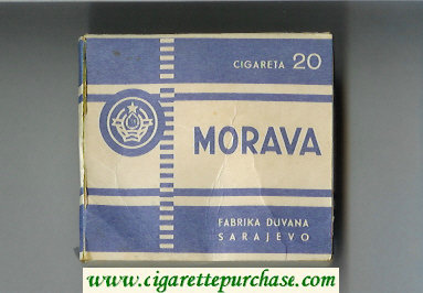 Morava white and blue cigarettes wide flat hard box