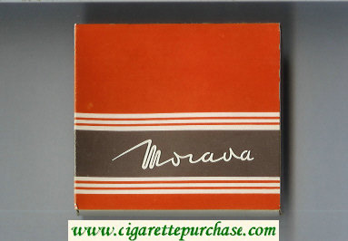 Morava red and brown cigarettes wide flat hard box