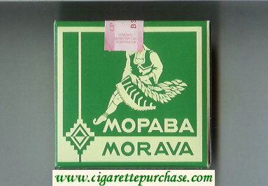 Morava Morava green and white cigarettes wide flat hard box