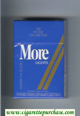 More Lights American Blend blue and gold cigarettes hard box