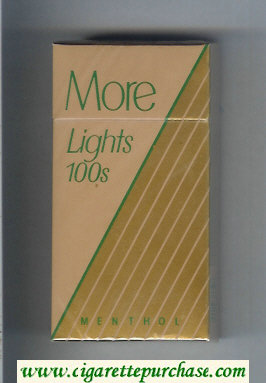 Discount More Lights Menthol brown and gold 100s cigarettes hard box