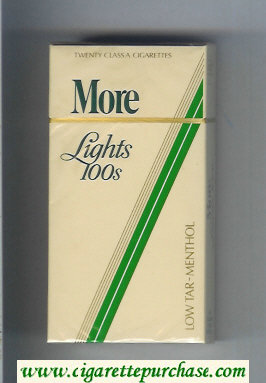 Discount More Lights Menthol yellow and green 100s cigarettes hard box