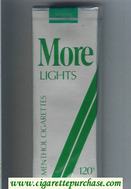Discount More Lights Menthol grey and green 120s cigarettes soft box