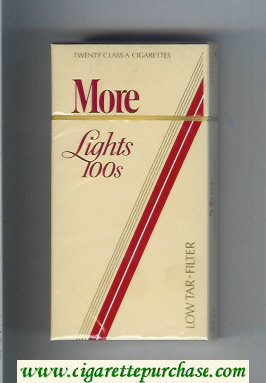 Discount More Lights 100s yellow and red cigarettes hard box